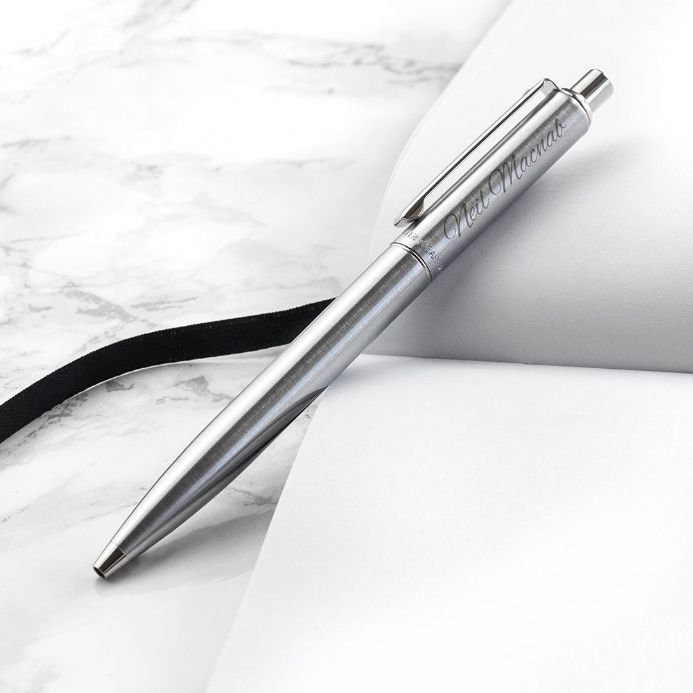 Personalised Sheaffer Brushed Chrome Ballpoint Pen | Personalised Gifts - The Present Season